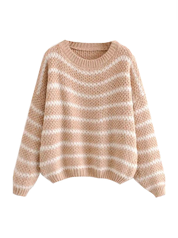 'Fannia' Striped Loose Knit Sweater (2 Colors)