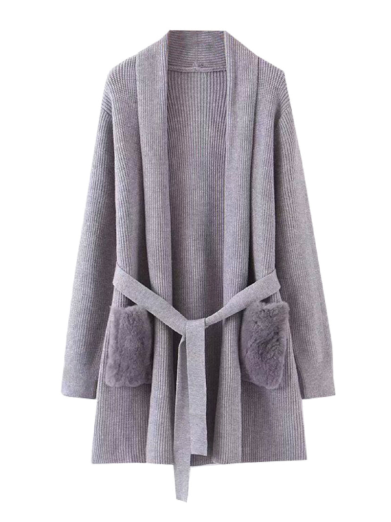 'Irene' Faux Fur Pocket Belted Cardigan (4 Colors)