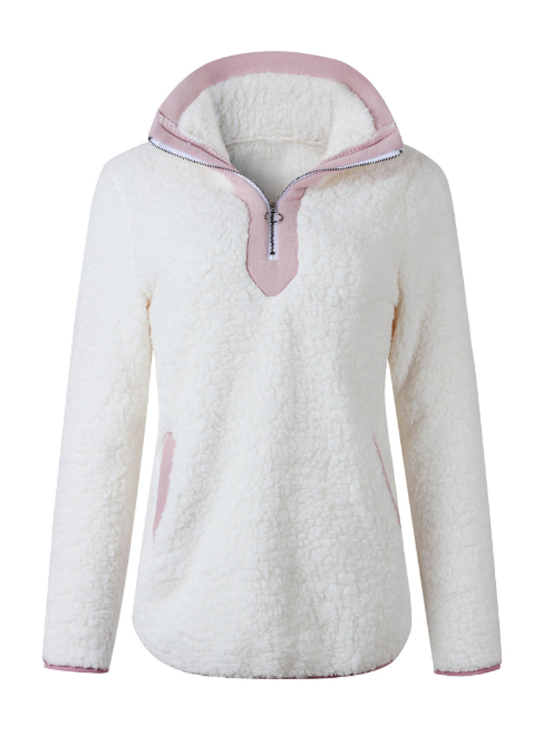'Tara' Pink Half-Zip Fleece Pullover (5 Colors)