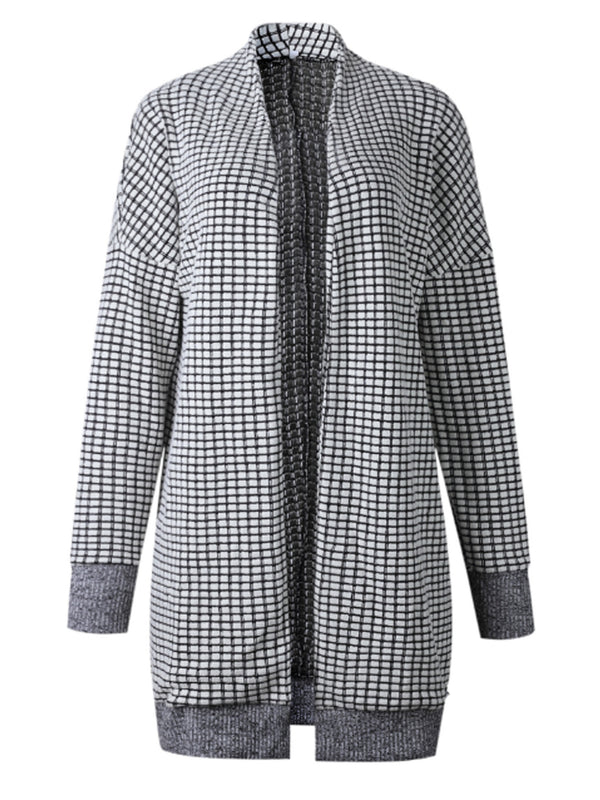 'Isabella' Checkered Pattern Open Front Cardigan