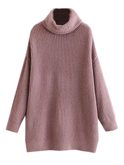 'Denise' Roll Neck Longline Knitted Sweater (2 Colors)