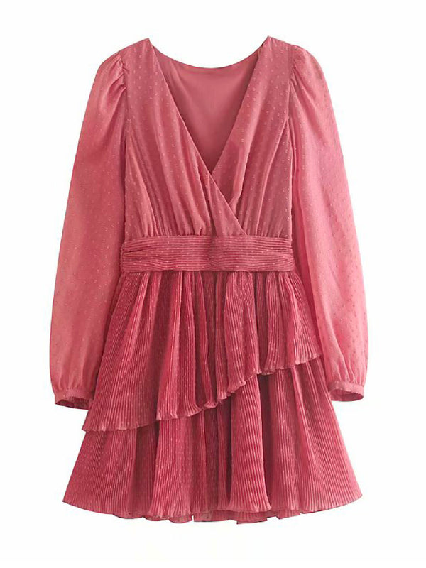 'Ottra' Chiffon Pleated Mini Dress