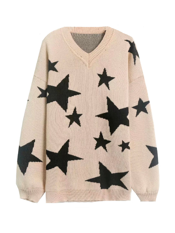 'Anna' V-neck Star Pattern Sweater (2 Colors)