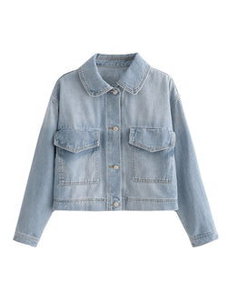'Hope' Lightwashed Crop Denim Jacket