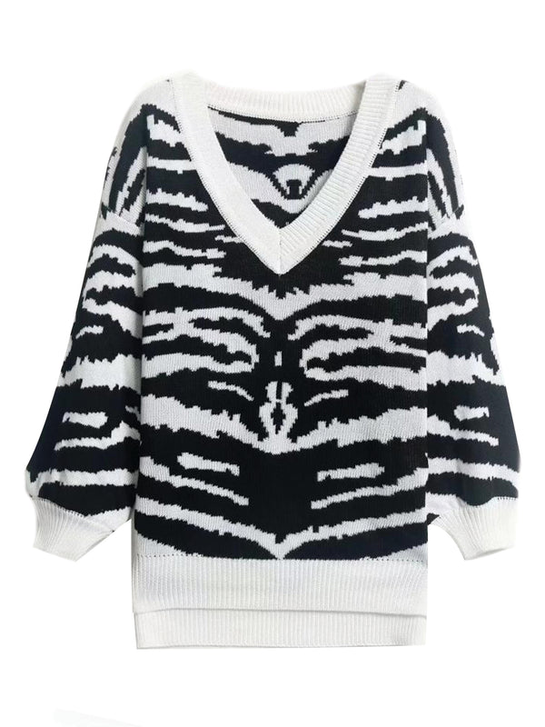 'Iris' Tiger Print V-Neck Sweater