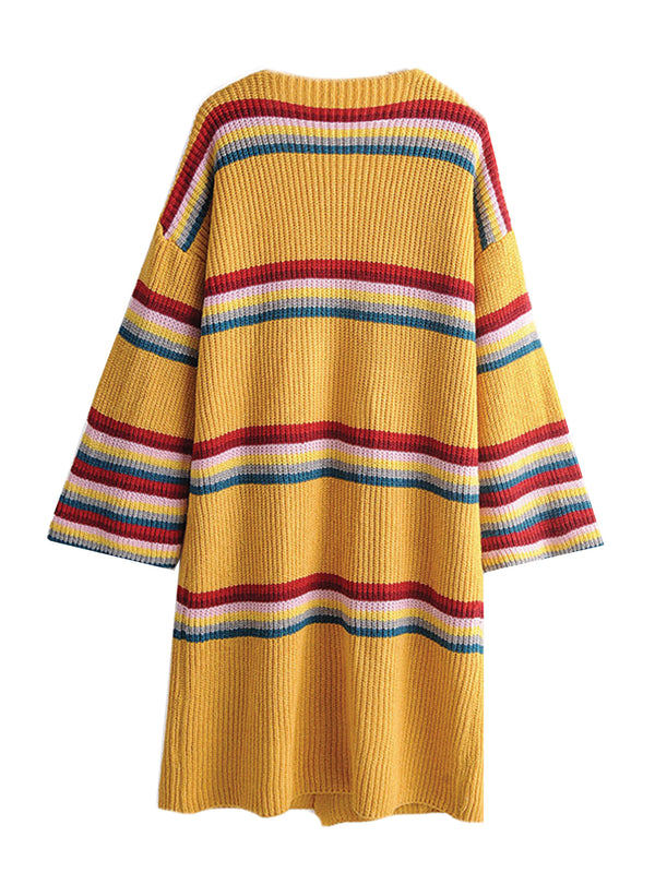 'Rebecca' Rainbow Striped Open Cardigan