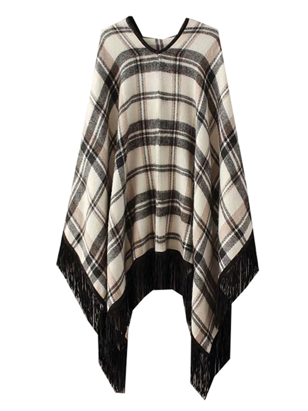 'Sloane' Plaid Tassels Cape