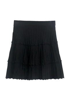 'Juliana' Pleated Knit Mini Skirt (2 Colors)