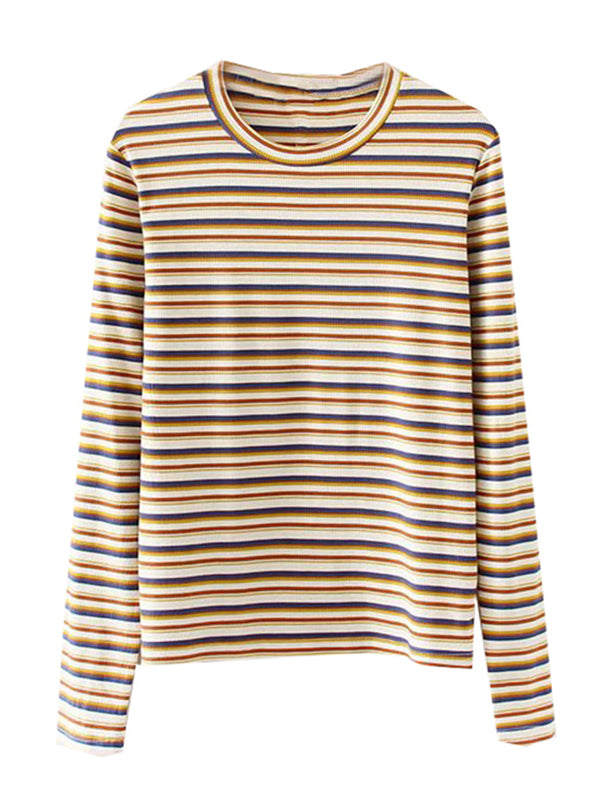 'Eden' Ribbed Knit Striped Sweatshirt (3 Colors)