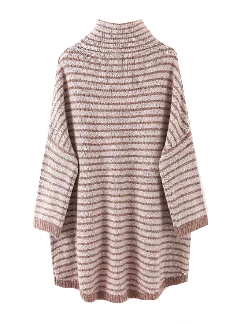 'Macy' Striped Turtleneck Cape Sweater
