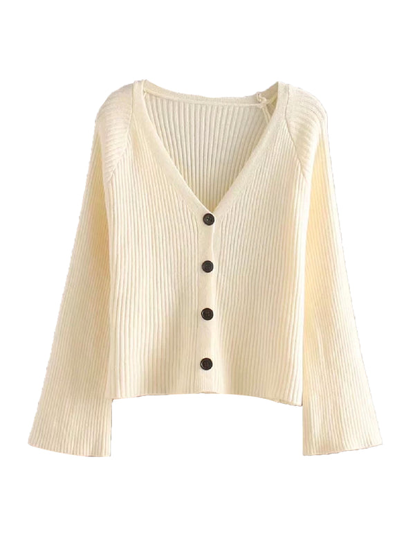 'Heran' Ribbed Knit Bell Sleeves Cardigan (3 Colors)