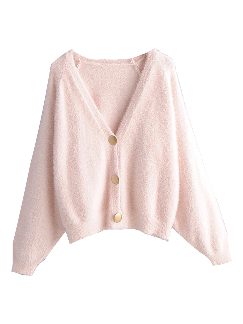 'Karyme' Metal Buttons Fluffy Cardigan (4 Colors)