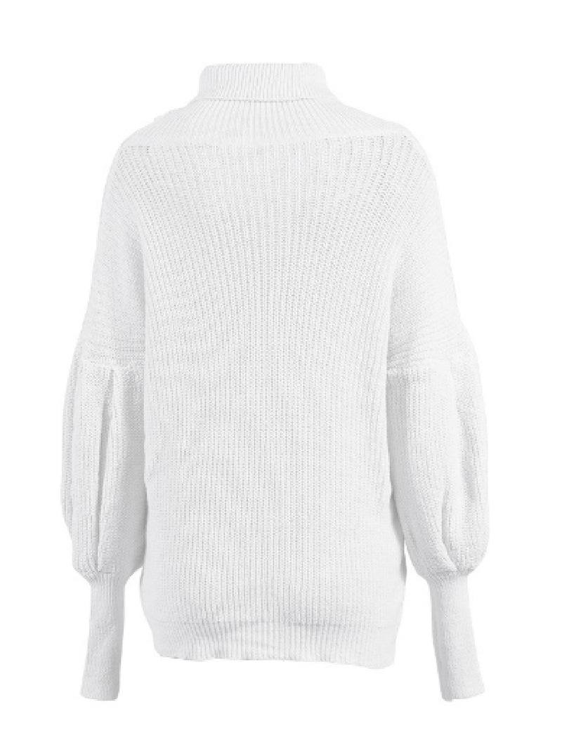 'Sommie' Bishop Sleeves Turtleneck Sweater (4 Colors)