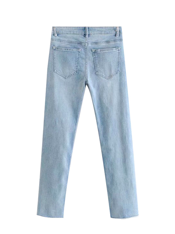 'Dagmar' Ribbed Knee Straight Leg Jeans
