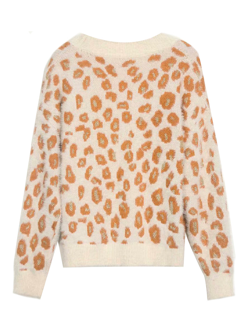 'Kaylie' Metallic Thread Leopard Print Cardigan