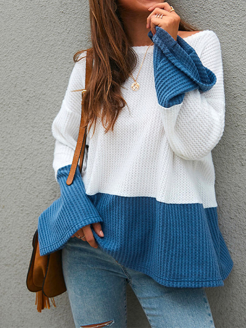 'Hayley' Waffle Knit Bicolor Top (2 Colors)