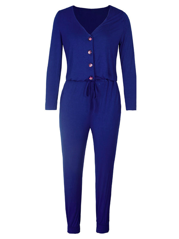 'Autumn' Button Front Jersey Jumpsuit (3 Colors)