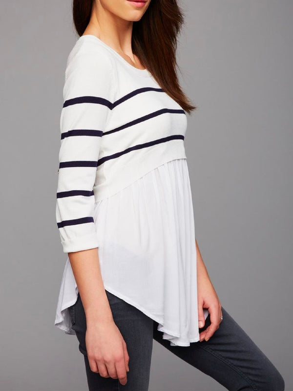 'Leslie' Maternity Striped Mock Shirt Sweater