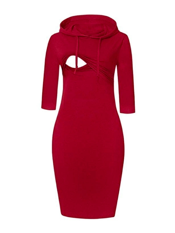 'Milly' Maternity Hooded Nursing Dress (2 Colors)