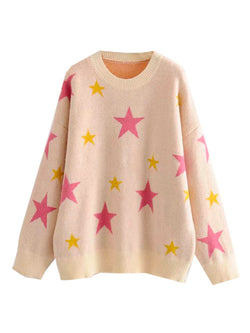 'Faye' Star Print Oversized Sweater (2 Colors)