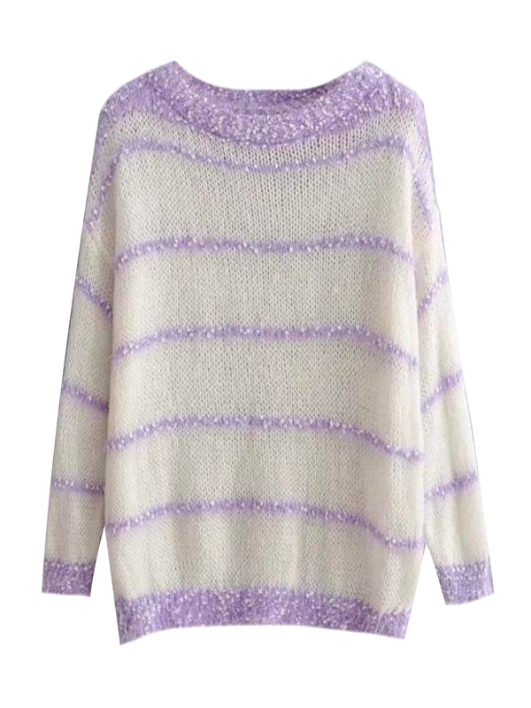 'Snow' Striped Mohair Sweater (2 Colors)