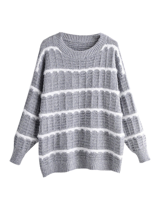 'Odessa' Mixed Fabric Striped Sweater (3 Colors)