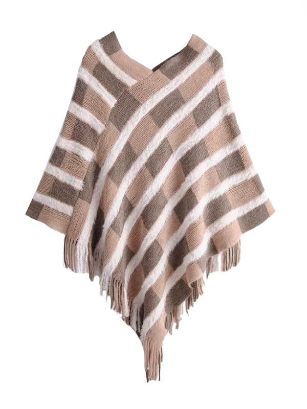 'Whitney' Checked Fringe Cape Sweater (3 Colors)