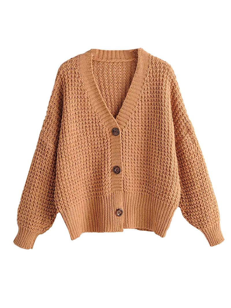 'Fabienne' Waffle Knit Button Front Cardigan (3 Colors)
