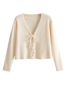 'Jawa' Lace-Up Front Ribbed Sweater (3 Colors)