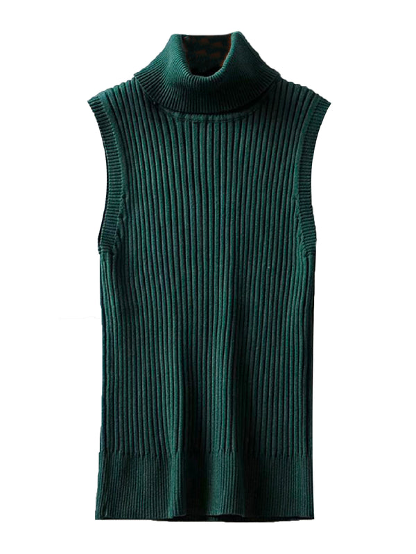 'Ailiya' Roll Neck Sleeveless Ribbed Top (5 Colors)