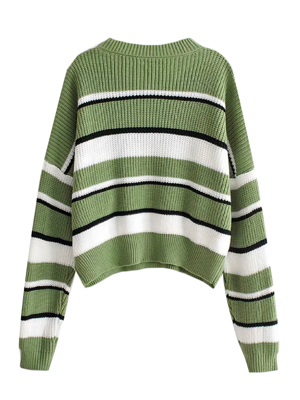 'Charlize' Striped Crewneck Sweater