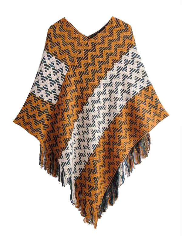 'Noel' Zic Zac Print Fringed Cape (3 Colors)