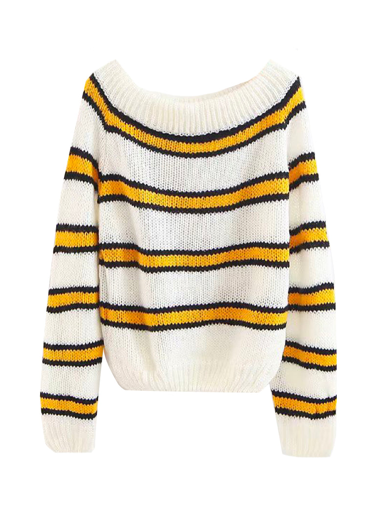 'Roma' Off The Shoulder Striped Mohair Sweater (2 Colors)