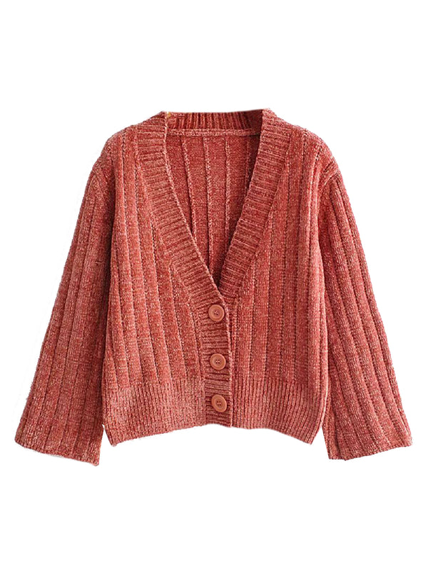'Iria' Chenille Ribbed Cardigan (4 Colors)
