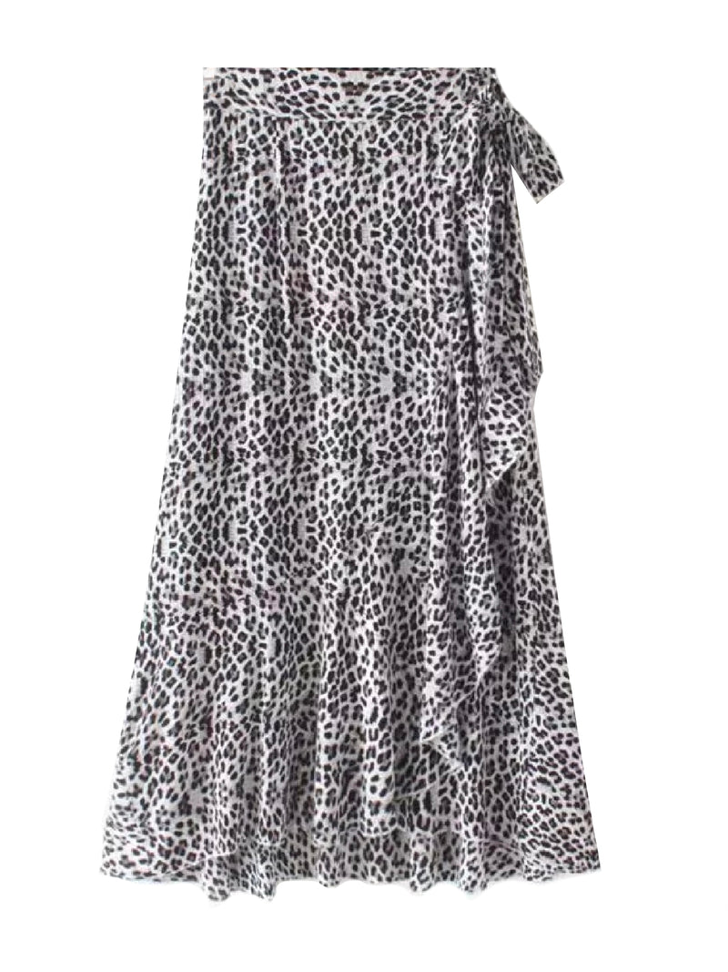 'Jeri' Leopard Print Midi Wrap Skirt (2 Colors)