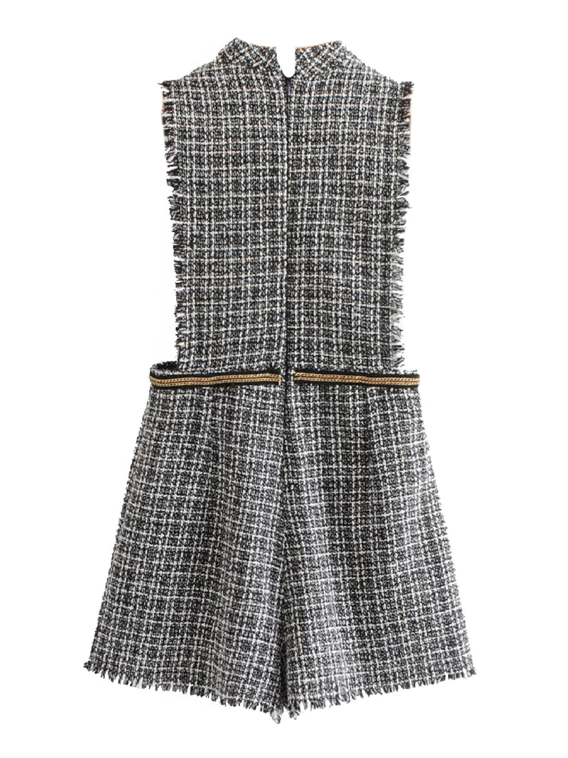 'Berit' Tweed Sleeveless Playsuit