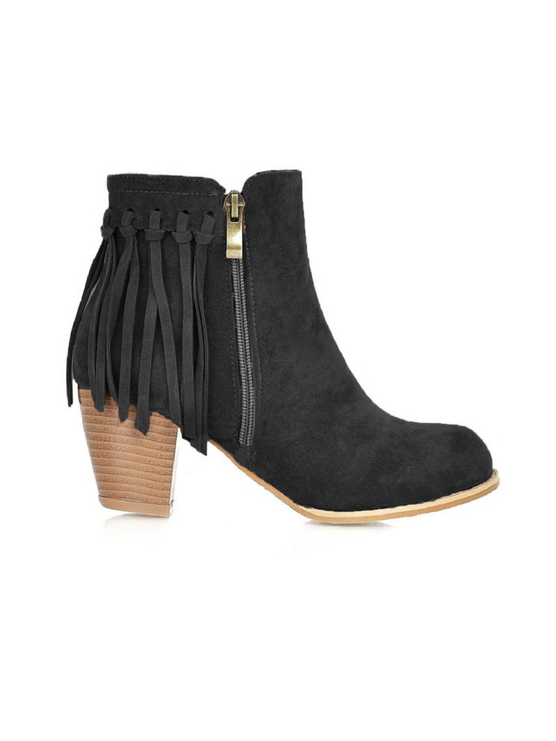 'Raeleigh' Fringed Block Heeled Boots (3 Colors)