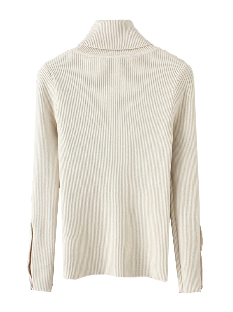 'Tam' Roll Neck Ribbed Knit Sweater (3 Colors)