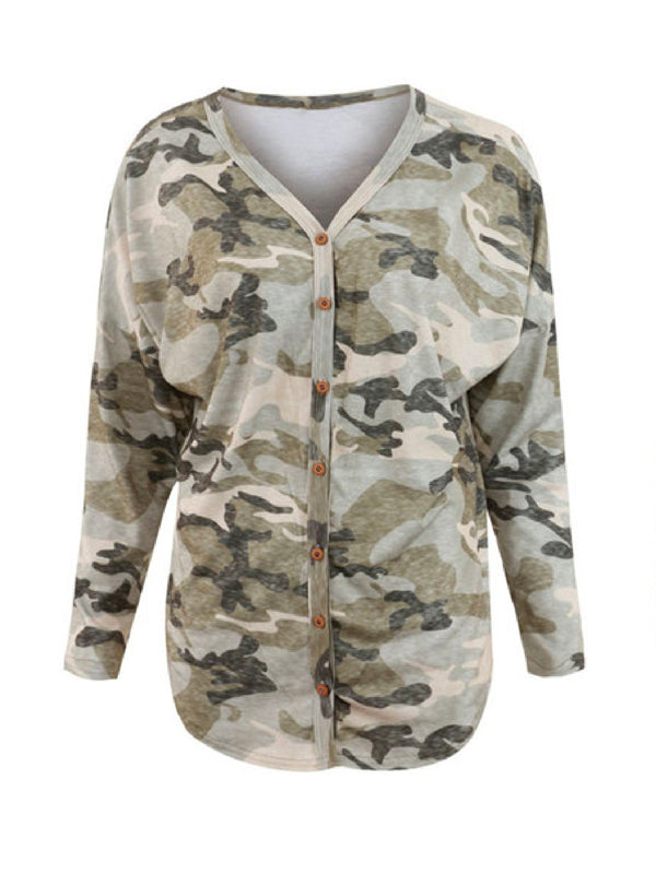'Brooke' Camouflage Henley Top