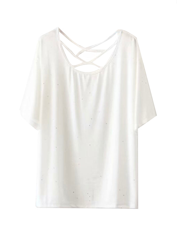 'Kit' Criss Cross Strap Glittered T-Shirt (2 Colors)