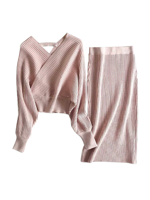 'Ivona' Metallic Thread Ribbed Knit Two Piece Set (3 Colors)