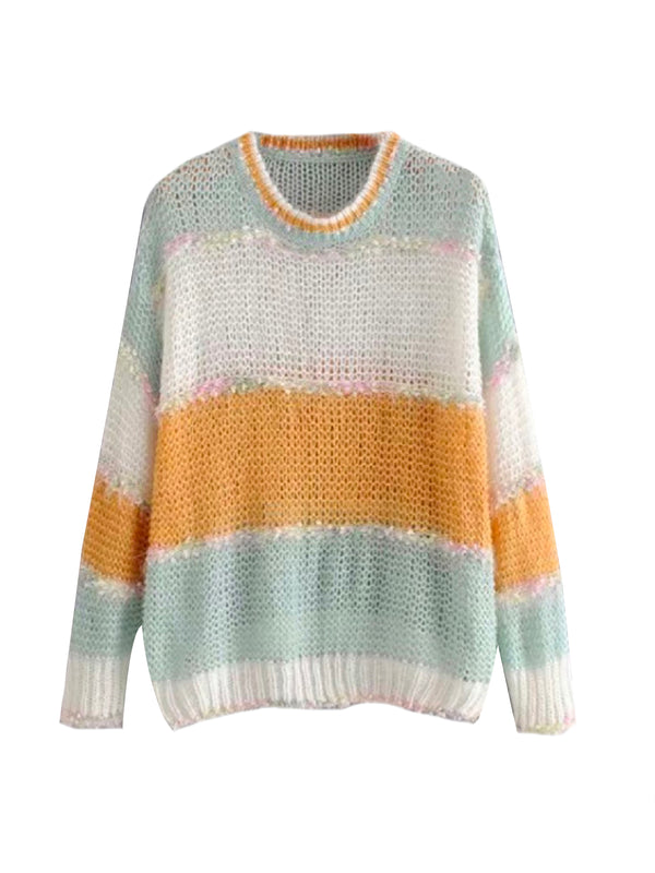 'Carey' Mixed Knit Mohair Sweater (2 Colors)