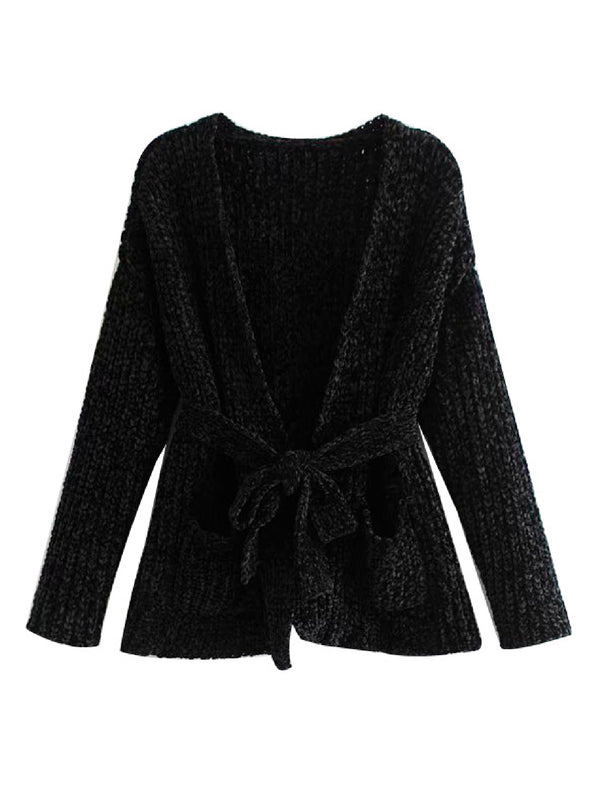 'Vesta' Chenille Belted Cardigan (3 Colors)