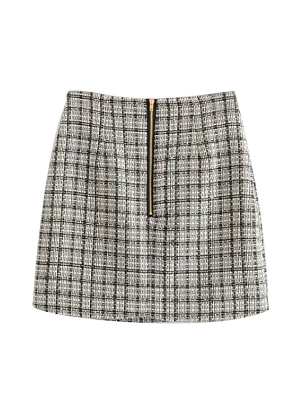 'Gemanie' Tweed Buttoned Mini Skirt