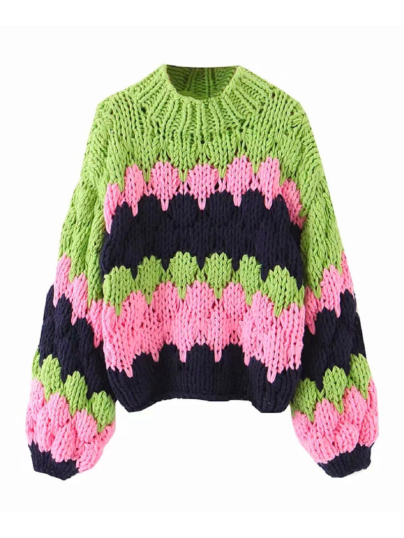 'Em' Chunky Knit Multi-Colored Sweater (2 Colors)