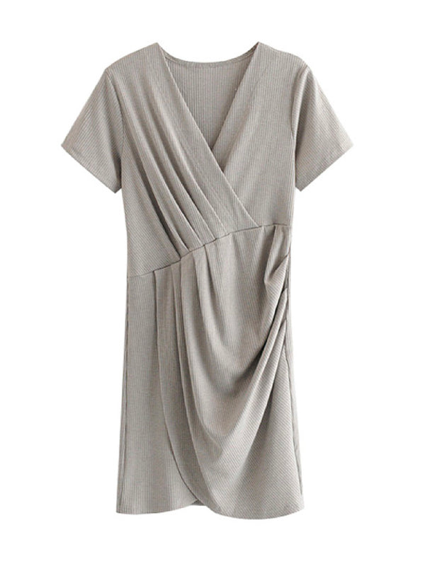 'Tiff' Ribbed Knit Wrap Dress (2 Colors)