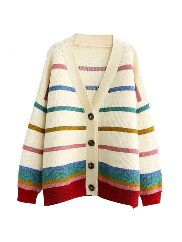 'Tina' Rainbow Striped Cardigan