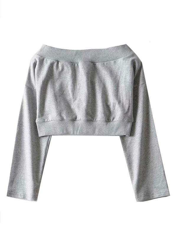 'Jamily' Off The Shoulder Cropped Sweater (2 Colors)