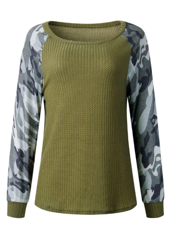 'Juliana' Camouflage Waffle Knit Sweater (3 Colors)