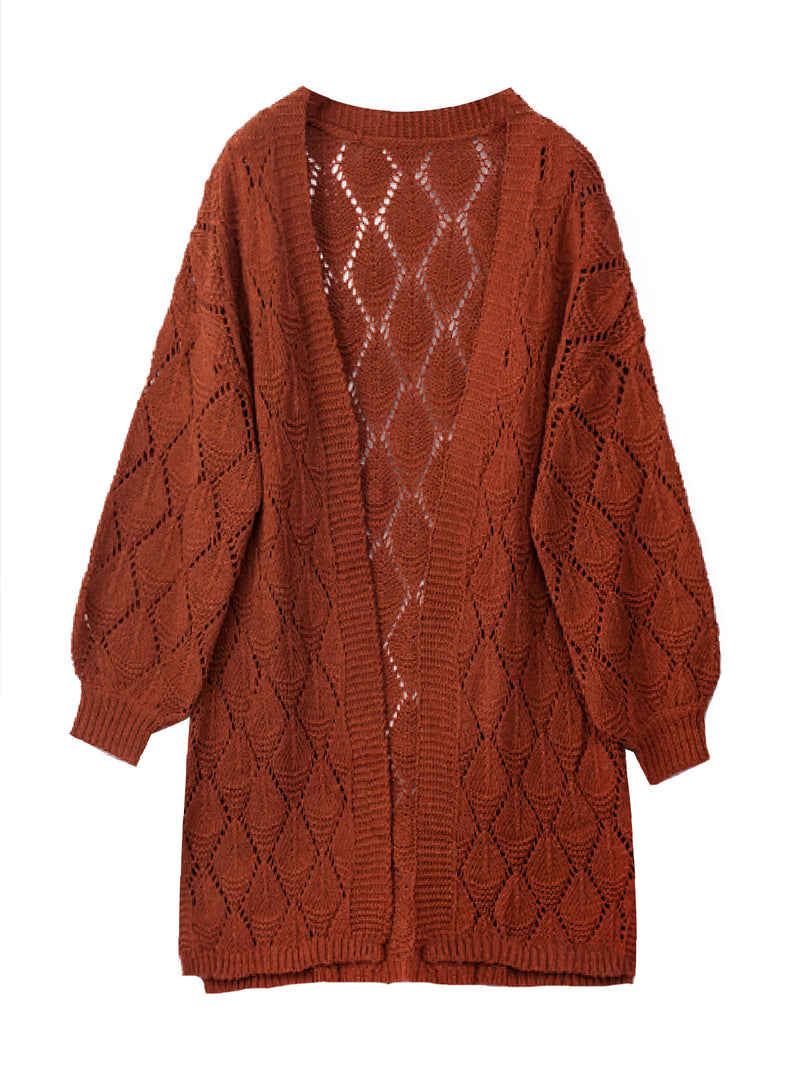 'Jojo' Openwork Knit Long Cardigan (4 Colors)